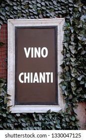 Sign at wine shop in Italy; telling the people that they sell Chianti
