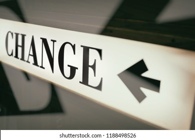 sign of word change and direction arrow
