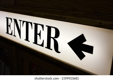 sign of word enter and direction arrow