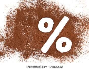 % sign written with cocoa powder