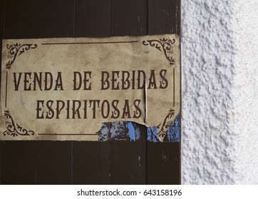 """A sign is written in galician: """"It sells alcoholic drinks"""""""