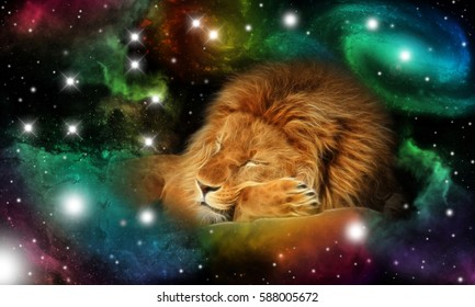 sign of the zodiac leo - portrait of a lion in a colorful universe with some galaxies and stars