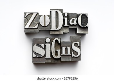 Sign of the Zodiac using vintage letterpress type with narrow depth of field. Part of an annual/calendar series