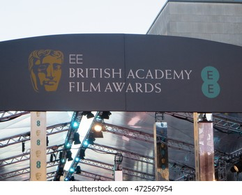 Signage for the 2015 BAFTA film awards in at the Royal Opera House, London