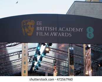 Signage for the 2015 BAFTA film awards in at London's Royal Opera House