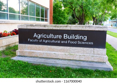 Signage of Agriculture building, faculty of agriculture and food science. Manitoba Canada. June 20th 2017.