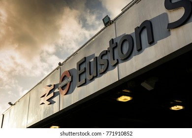 Signage and entrance sign at Euston Station, London, UK - September 2015