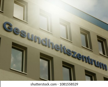 Signage of a Gesundheitszentrum, German for 'Health center'