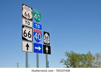 Signage of historical route 66 in Arizona, USA.