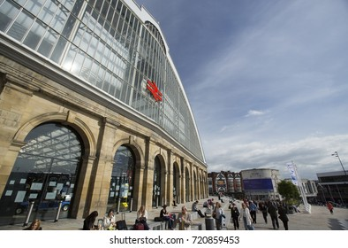 Signage at the main entrance to Liverpool Lime Street Station, Liverpool, Merseyside, UK on 24th June 2014