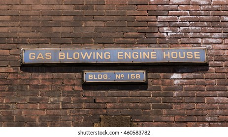 Signage on a factory building at the former Bethlehem Steel Corporation in Bethlehem, Pennsylvania.