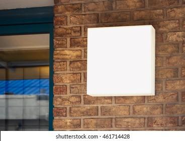 Signage Shop Mock up light box sign display on brick wall