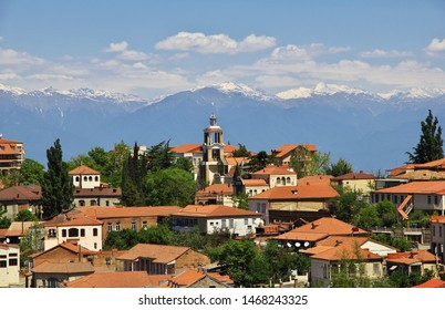 Signagi / Georgia - 05 May 2013: The view on Signagi and Alazani valley, Georgia