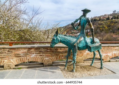 SIGNAGI, GEORGIA - APRIL 6, 2017: Monument of Doctor on donkey on the street, City of Love, Signagi, Georgia