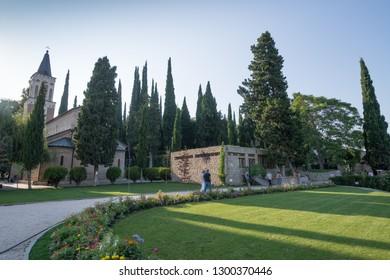 Signagi, Georgia, circa september 2018: Garden at Saint Nino Bodbe Monastery Cathedral