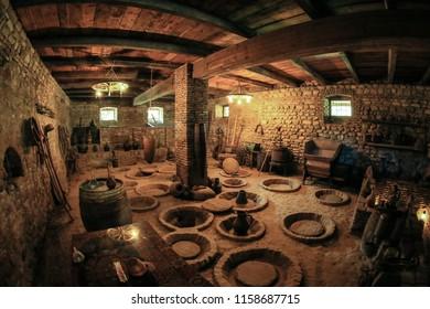 Signagi, Georgia - May 29, 2018: Interior view to the Caucasian Wine Cellar