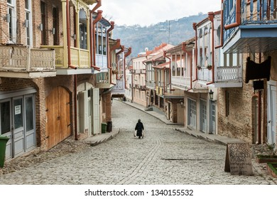 Signagi, Georgia - november 23, 2011: View  of tiny picturesque streets of small Signagi town in Kakheti region, Georgia