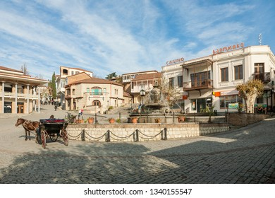 Signagi, Georgia - november 23, 2011: View on a central square of picturesque Signagi town in Kakheti region, Georgia