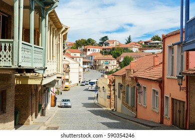 Signagi, Georgia - Sent 15, 2016: View of street in Signagi or Sighnaghi city in mountains at Kakheti region. It is City of Love in Georgia, with many couples visiting it just to get married