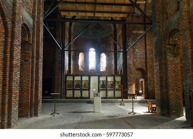 Signagi, Georgia - Sent 16, 2016: Inside of St.Nino's church under construction in Monastery of St. Nino at Bodbe. Cathedral was constructed in IV century, on the tomb of St. Nino. Kakheti region