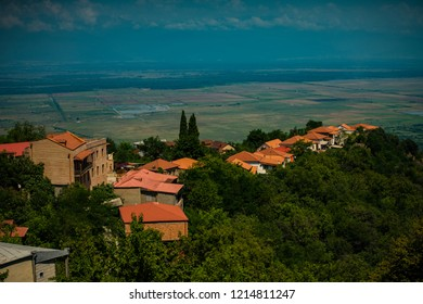 SIGNAGI, KAKHETI, GEORGIA - JULY 19 2018: City of love famous for its old town on hill top with the best view to Alazanis Valley