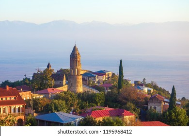 Signagi or Sighnaghi city in Kakheti region in Georgia, sunrise in Sighnaghi.