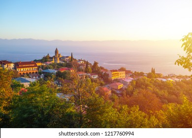 Signagi or Sighnaghi city in Kakheti region in Georgia, sunrise in Sighnaghi.