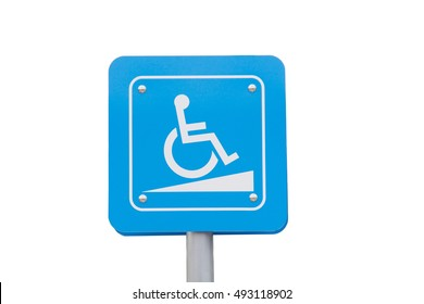Signal ramps for the disabled. Wheelchair ramp isolated on white background.