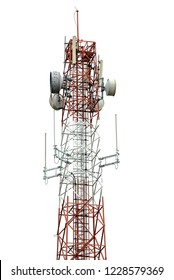 Signal tower for communication industrial isolated on white background