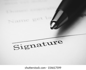 The signature. Black and white style.