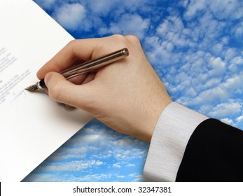 Signature of Business Contract with cloudy Sky