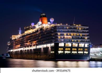 Signature class cruise ship at night