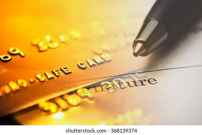 The signature and credit card. Macro image.