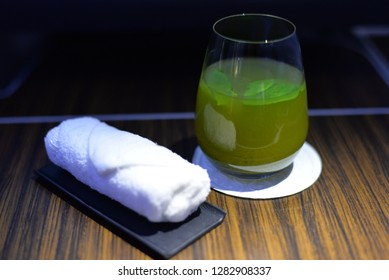 Signature Lime and Mint Drink and Towel, In-flight Catering