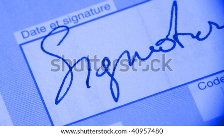 Signature on bank transfer