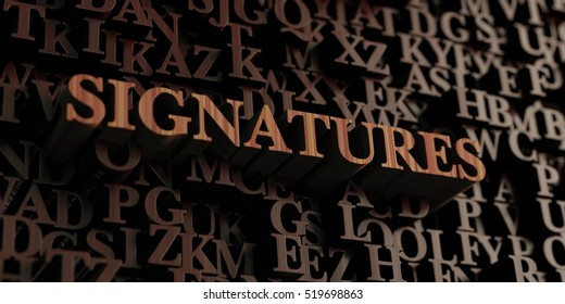 Signatures - Wooden 3D rendered letters/message.  Can be used for an online banner ad or a print postcard.