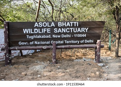 Signboard of Asola Bhatti Wildlife Sanctuary. 				This protected area contains one of the last surviving remnants of Delhi Ridge hill range and its semi-arid forest habitat and its dependent wildlife