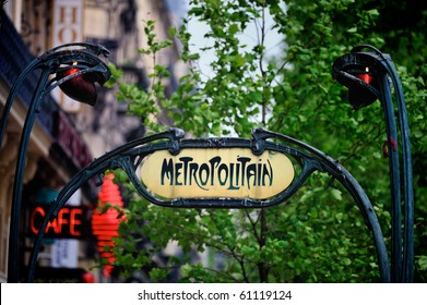 Signboard by entrance  in subway. Paris. France