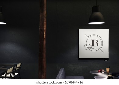 Signboard in a dark restaurant mockup