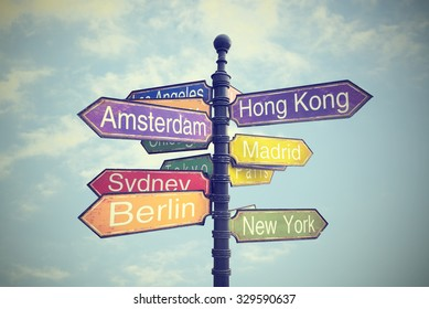signboard with directions to Countries