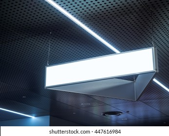 Signboard hanging in Building Blank sign with Light