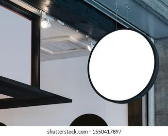 Signboard hanging sign Mock up Logo shop Retail business
