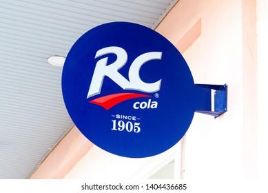 Signboard RC Cola on the street, Uzbekistan, Tashkent, March 26, 2018