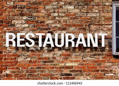 Signboard of restaurant close up
