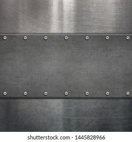 Signboard with rivets on steel background