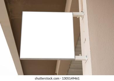Signboard shop or restaurant in Mock up Rectangular square shape