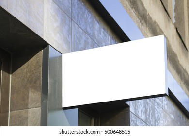 Signboard shop or restaurant. Mock up. Rectangular shape
