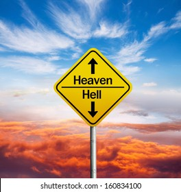 signboard showing the direction to heaven and hell ,up and down