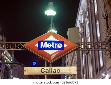 signboard subway station in Madrid, Spain