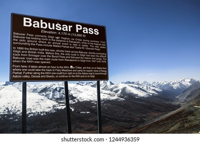 A signboard telling information of Barbusar Pass. Khyber Pakhtunkhwa, Gilgit Baltistan, Pakistan.